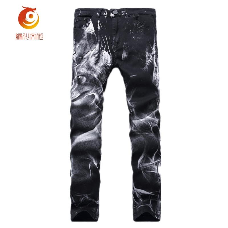 Spring Mens Fashion Wolf Print Stretch Denim Jeans Slim Black Painted Straight Pants Long Trousers Vintage Tight Denim Pants