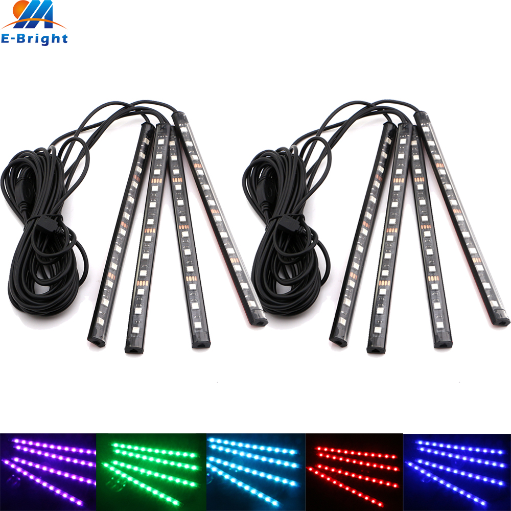 2Sets Multi-color 4x12SMD 5050 LED Car Interior/Exterior Decorative Light Strips APP/RGB Control Waterproof Auto Lighting NEW!!