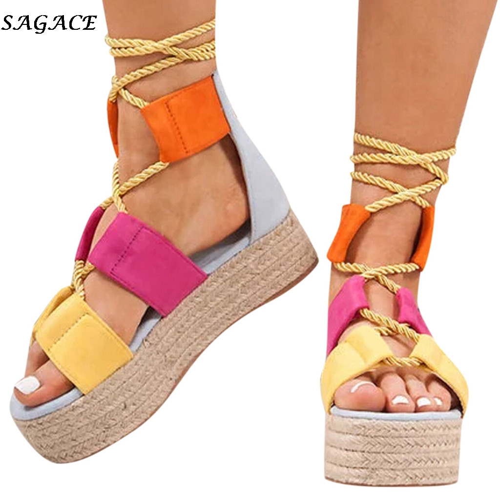 SAGACE Wedges Shoes For Women Summer Beach Shoe Hemp Rope Lace Up Flat Fish Mouth Sandals Femme Platform Sandals Shoes Woman #30
