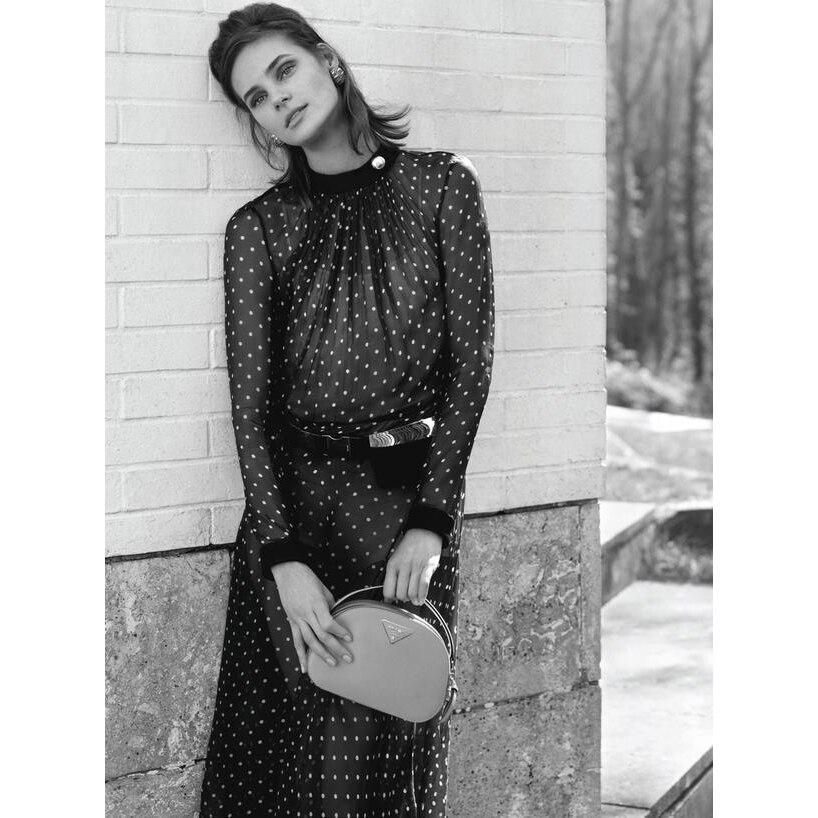 Dresses Women s Elegant Round Neck Silk Long Sleeve Polka Dot Belt Dress Short Sleeve Long