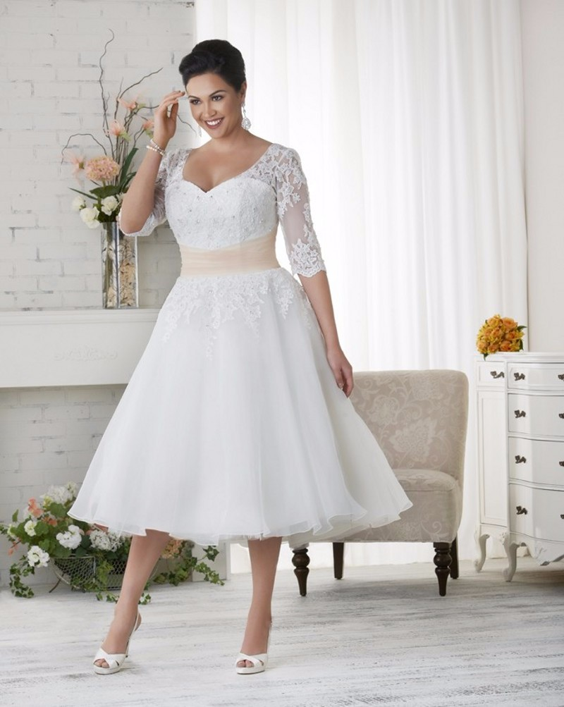 Tea Length Plus Size Long Wedding Dresses Half Sleeves Appliques Lace Beaded  Women Bridal Gown Custom Made 0909678be02b