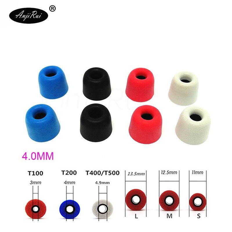 20pcs/10pairs. ANJIRUI T200 Black L 13.5mm 4.0mm Caliber Ear Pads/cap memory ear foam eartips for in ear Headphones tips Sponge