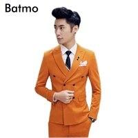2017 новое поступление хлопок высокого качества двубортный Orange костюм размеры S и M en, торжественное платье, размеры S M, L, XL, XXL, XXXL, XXXXL