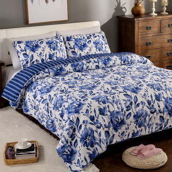 Quality Blue and white Quilt Set 3PCS bedding Wash cotton Quilt Bed Cover Aircondition Bedspread Pillowcase King Size Coverlet