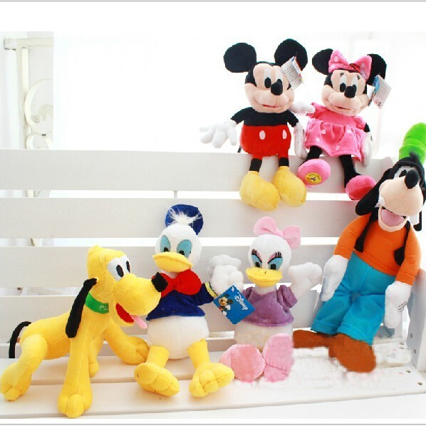 6 PCS/Lot Stuffed Plush Toy Dolls Mickey and Minnie Mouse Donald and Daisy Ducks Goofy and Pluto Dogs High Quality NTP090E 2pcs lot 28cm minnie and mickey mickey mouse super doll baby toy stuffed animals kawaii toy for children s gift