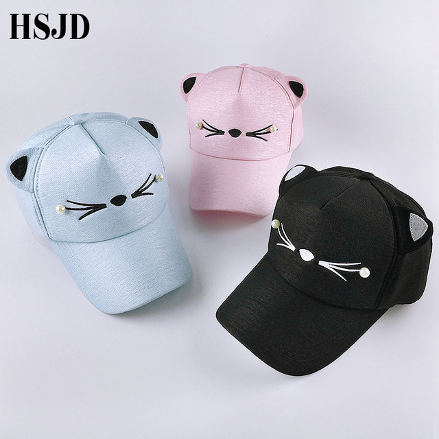 Snapback Cute Cat Ears Pink Adult Net Baseball Cap Summer Women's hats 2018 Brand Lovely Cartoon Adjustable Girl Mesh Cap Gift 10