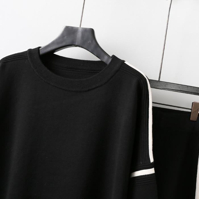 Pièces Tricoter Deux Longues Pantalon Costume Femelle Tricoté Manches Étudiants Chandail Nouvelle Femmes Mode Automne À Des Noir Pull 2018 OCBa7x