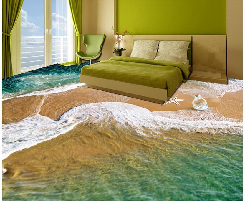 Photo personnalisée 3d pvc plancher étanche chambre autocollant coquilles sur la plage peinture 3d peintures murales papier peint pour murs 3d