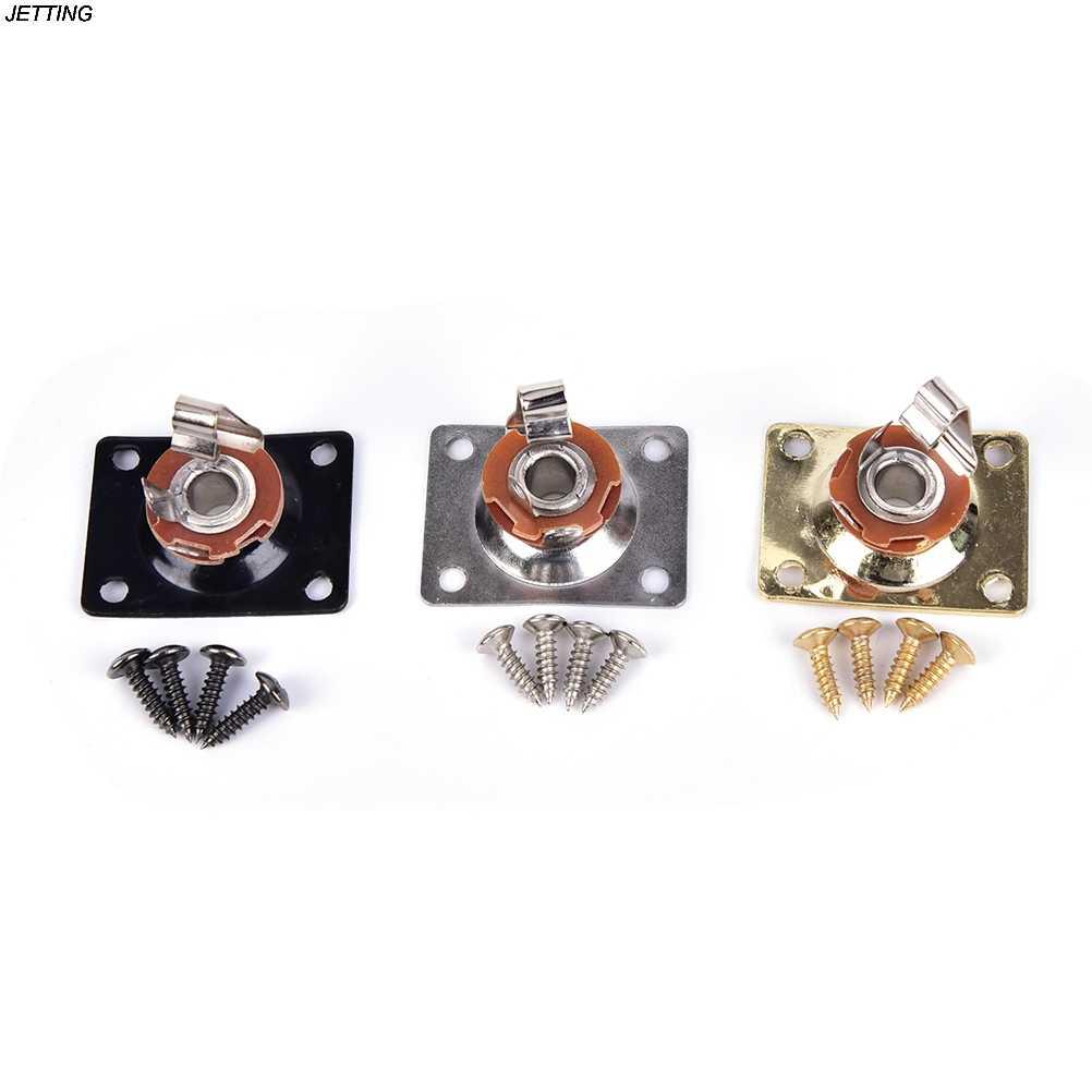 1/4 เอาต์พุตสำหรับ LP SG Tele กีตาร์ไฟฟ้า Chrome สีดำทองเงินสแควร์สไตล์แจ็คไฟฟ้าซ็อกเก็ตกีตาร์