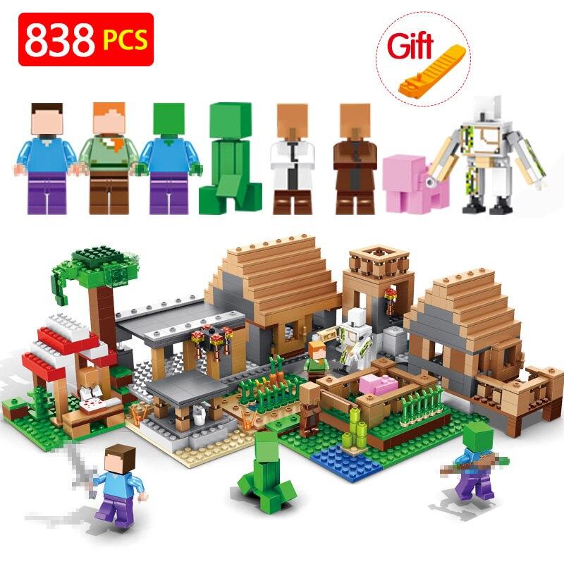 Blocs de construction Briques LegoINGLYS Minecrafted Le Spirituel village Mon monde Figure Enfants Jouets Éducatifs Pour Enfants Cadeau