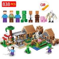 Building Blocks Bricks LegoINGLYS Minecrafted The Spiritual village My world Figure Kids Educational Toys For Children Gift