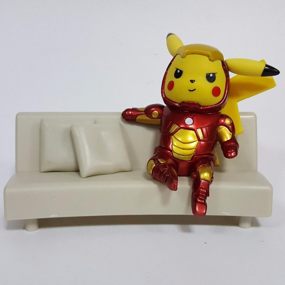 Ironman Action Figures Pikachu Cosplay PVC 130mm Anime Iron Pikachu Superhero Toys Collectible Model Toy ironman sp12