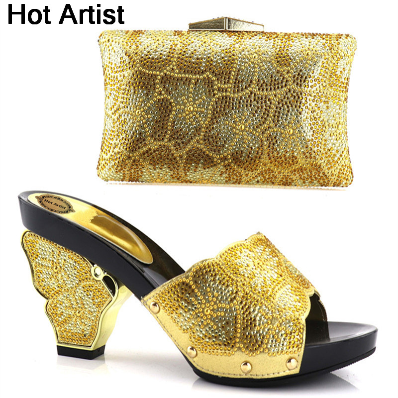 Hot Artist Latest Gold Color Italian Shoes And Bags To Match Set Nigerian Summer Woman High Heels Party Shoes And Bag Set YH-11 hot artist shoes and bag set african sets italian shoes with matching bags high quality women shoes and bag to match set mm1055