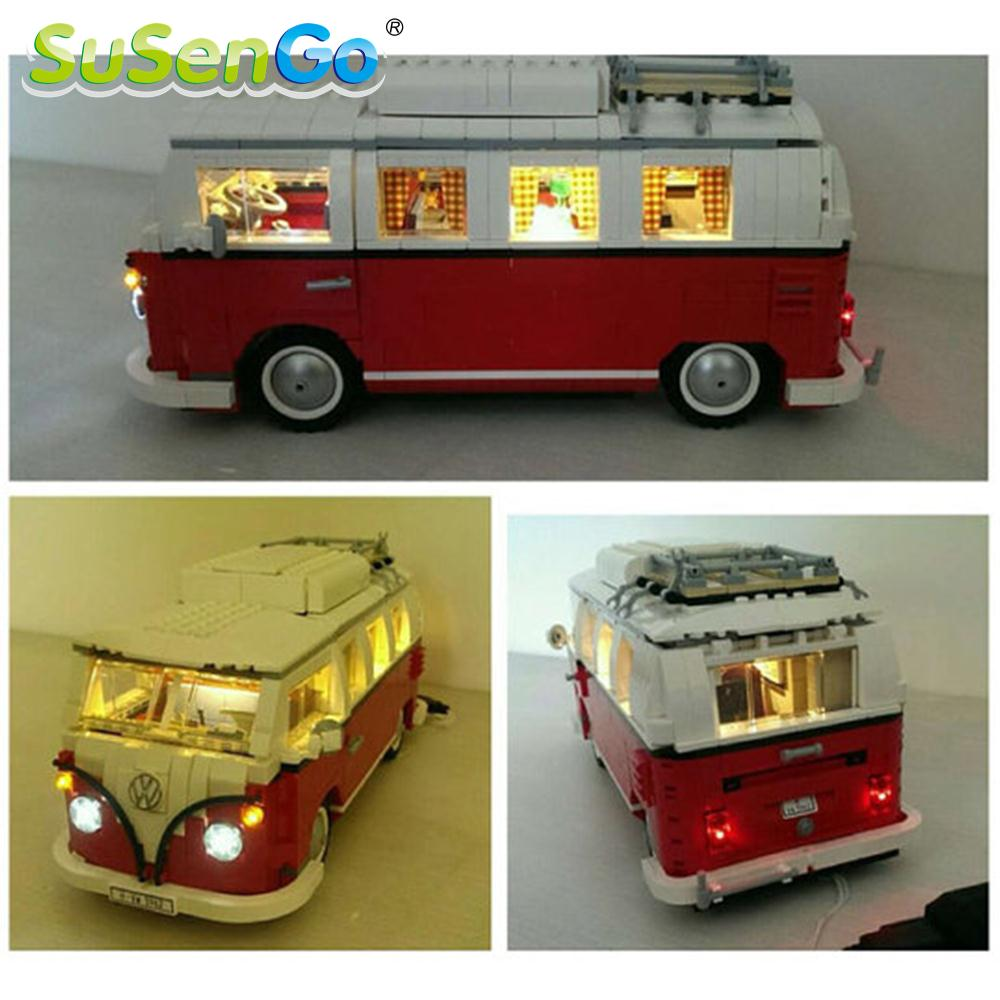 SuSenGo LED Light Set For 10220 Camping Van Model Creator Decorate Bricks Kit Building Block Toys 21001 Lighting Set new lepin 20054 4237pcs creator camper van model building kits bricks toys compatible gifts 10220