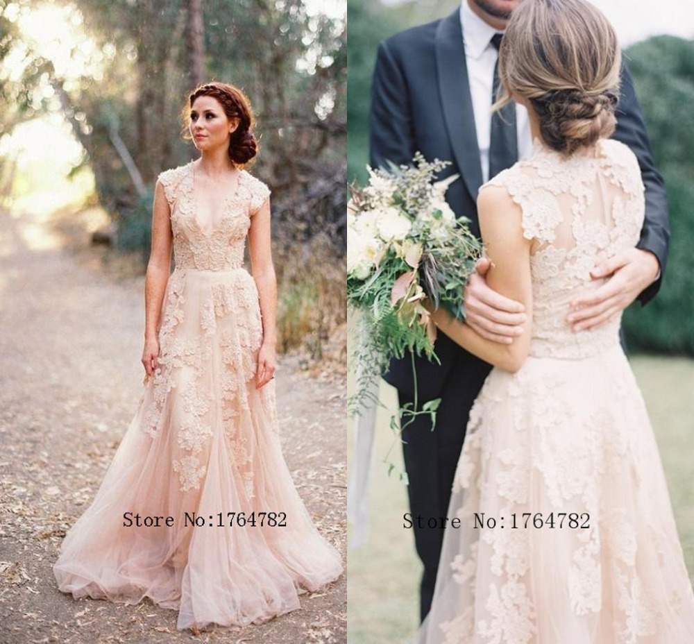 Famous designer 2015 blush tull lace wedding dresses a line v famous designer 2015 blush tull lace wedding dresses a line v neckline cap sleeve romantic wedding bridal dress vestido de noiva in wedding dresses from ombrellifo Image collections
