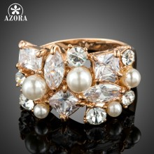 AZORA Rose Gold Color Multi-shape Cubic Zirconia Set with Simulated Pearls Rings for Women TR0183(China)