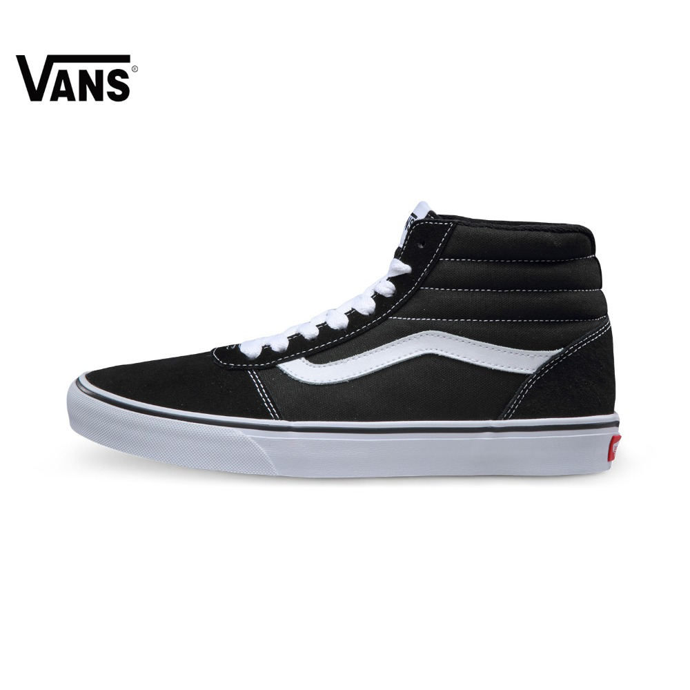 Original Vans Black and White High-Top Men's Sneakers For Men Skateboarding Shoes Sport Shoes Canvas Breathable Leisure original vans black and blue gray and red color low top men s skateboarding shoes sport shoes sneakers