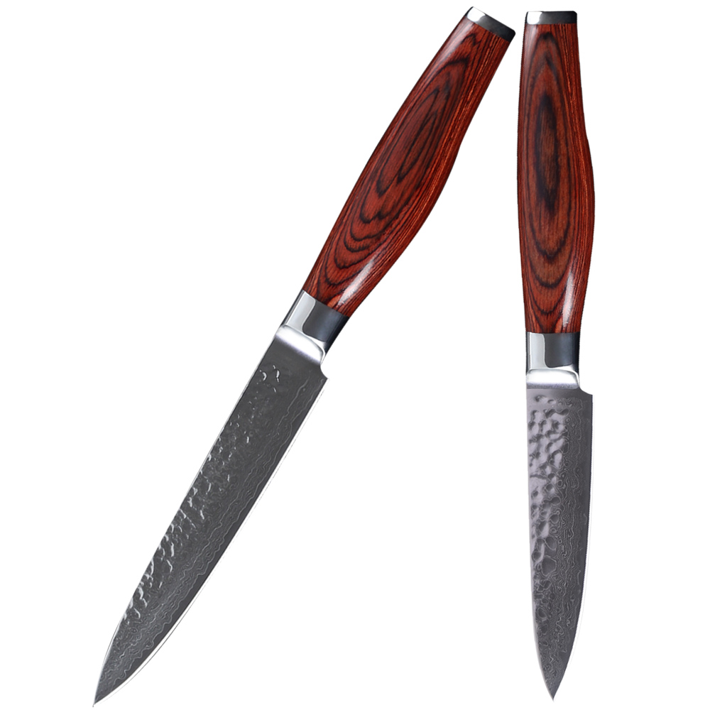 vg 10 japanese damascus steel kitchen knives set xyj brand 5 inch utility 3 5 inch fruit. Black Bedroom Furniture Sets. Home Design Ideas