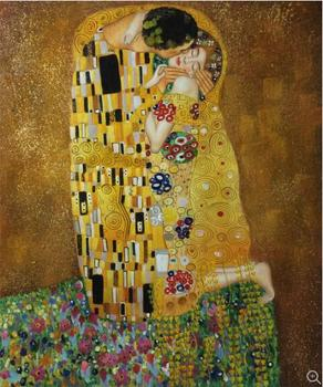 Free fast Shipping The Kiss by gustav klimt 100% handmade Oil Painting Reproduction on linen Canvas Museam Quality