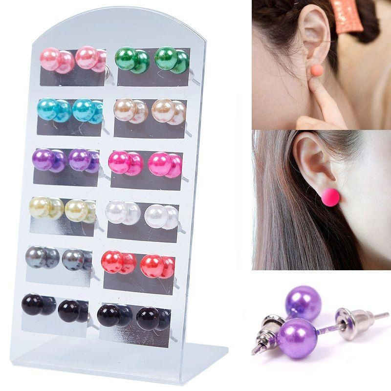 12Pair/Set Colorful 6mm Pearl Earring With Display Stand For Women Jewelry Bijoux Brincos Pendientes Mujer Fashion Stud Earrings