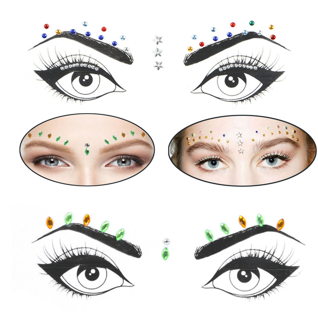 1 Sheet Handpicked Bohemia Tribal Style 3D Crystal Sticker Face And Eye Jewels Forehead Stage Decor Temporary Tattoo Sticker 4