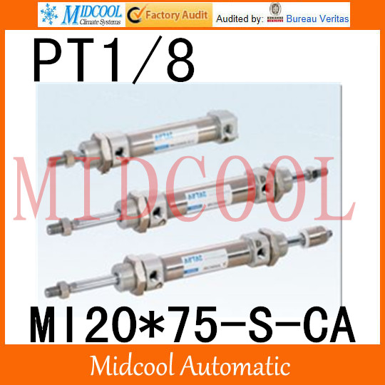 MI Series ISO6432 Stainless Steel Mini Cylinder MI20*75-S-CA bore 20mm port PT1/8 mi series iso6432 stainless steel mini cylinder mi10 200 s ca bore 10mm port m5 0 8