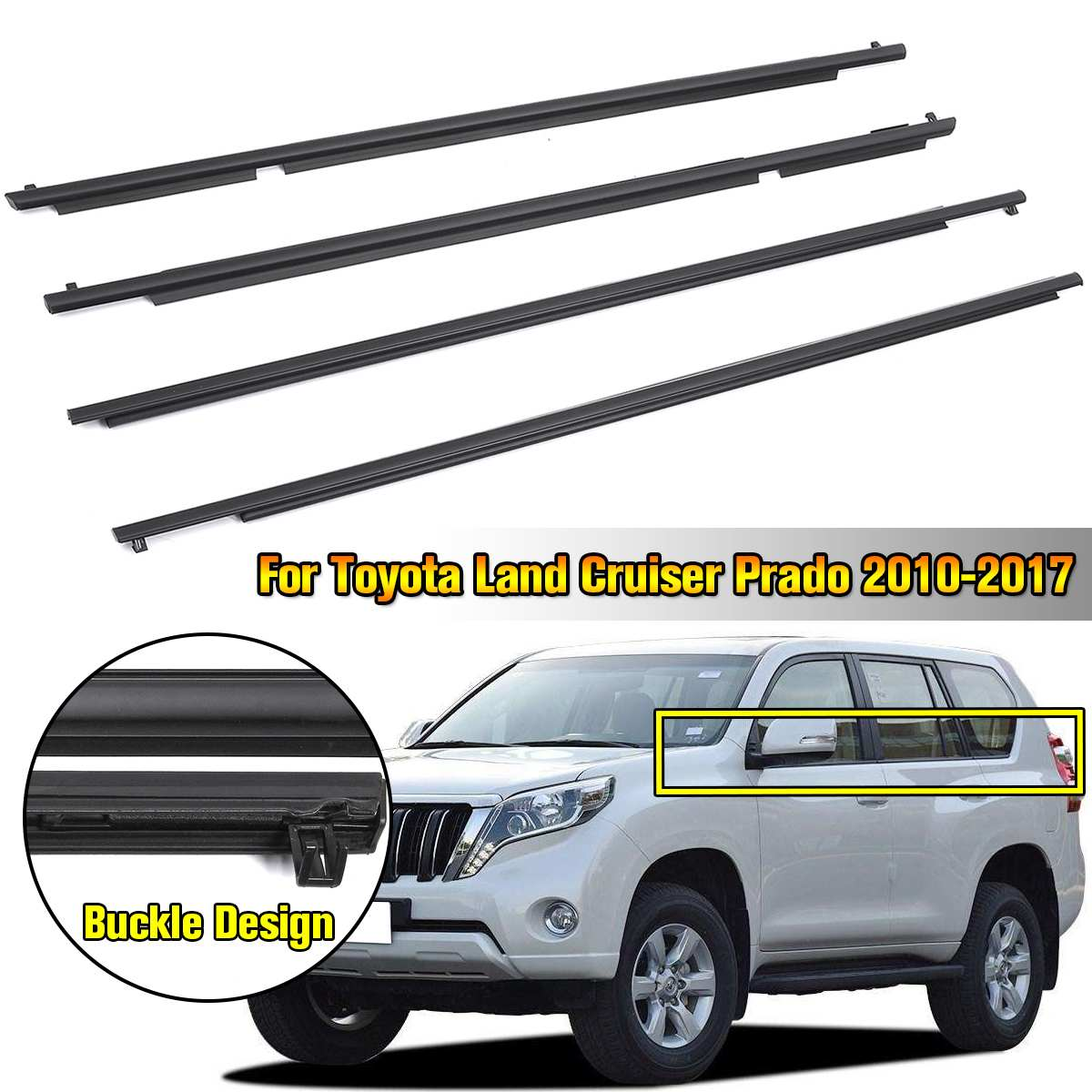 4PCS Window Door Belt Moulding Trims Weather strip Strip Wind Rain Deflector Set For Toyota Land Cruiser Prado 2010 2017