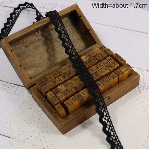 Zakka Стиль хлопковая кружевная лента швейная лента, бежевая Кружевная Сетка, крутая кружевная тесьма(17 мм x 50 ярдов - Цвет: Black