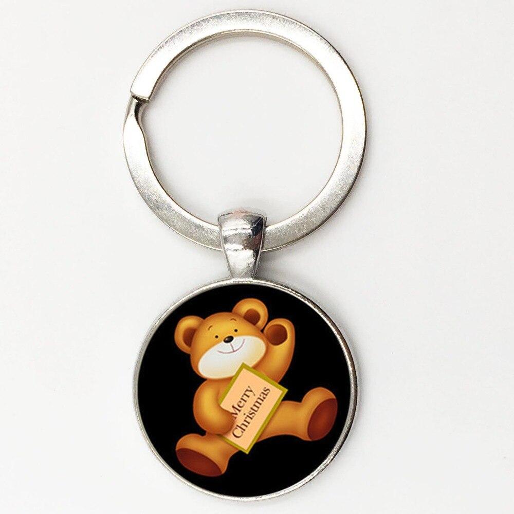New Arrival teddy bear keychain Merry christmas gift Zinc alloy key ring key holder handbag charm