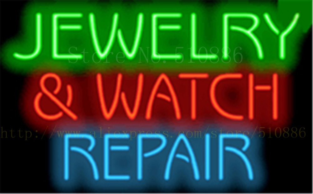 Us 107 64 22 Off Jewelry Watch Repair Neon Sign Real Gl Beer Bar Pub Light Signs Display Accessory Advertising 17 14