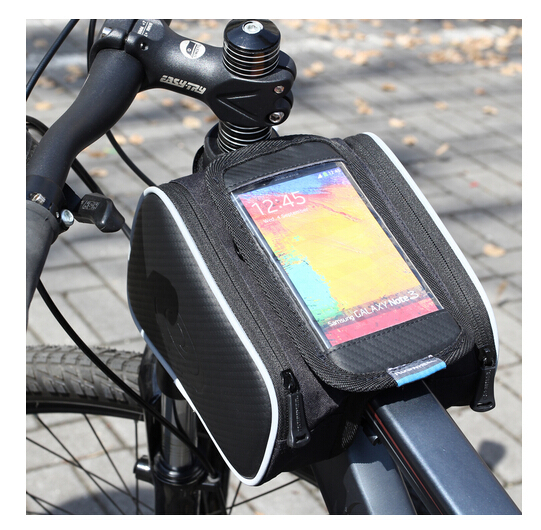 Roswheel Cycling Road Mountain Bike Bicycle Front Top Tube Frame Pannier Double Bag Pouch for 5.5in or 5 in Cellphone Phone 1.8L