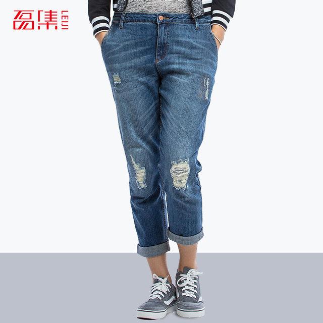Azul Da Moda Jeans Rasgado para as mulheres Plus Size calças jeans Boyfriend para As Mulheres Capris Calça Jeans de algodão Elástico Calça Reta mid cintura