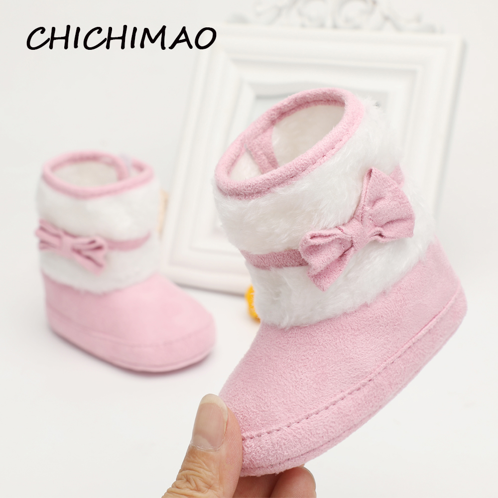 2017 Strikning Håndlavede Bowknot Fleece Snow Boots For Baby Girl Boy Antisilp Prewalker Booties Baby Sko 0-18 Months
