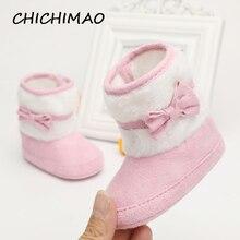 13cb18e91 2017 tejido hecho a mano Bowknot polar botas de nieve para bebé niña  anti-silp Prewalker botines zapatos de bebé 0-18 meses