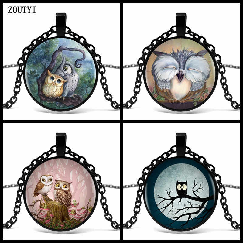 2018/ hot sale cute owl series glass pendant necklace, fashion wear pendant necklace jewelry.