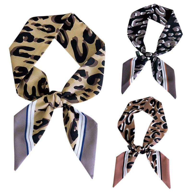 Women Leopard Printed Polyester Little Scarf Striped Edge Neck Tie Neckerchief Handle Bag Ribbons Hair Wrist Band Chocker