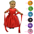 Multi Colors of 18 Doll Dress with Shining Butterfly and Belt for 18 inch American Girl Dolls