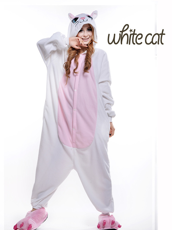 polar fleece white cat cosplay footed pajamas plus size jumpsuit halloween costumes for women