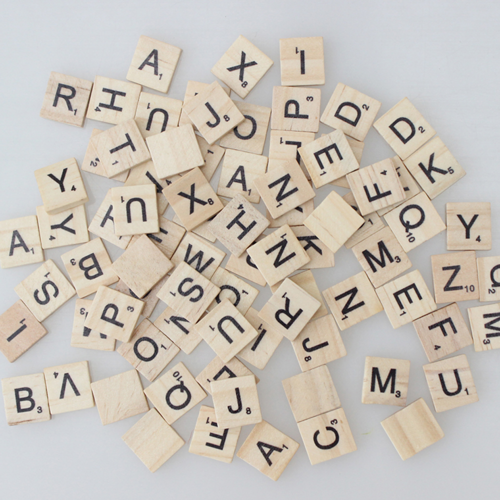 100 pieces NEW STYLE School Study Printing Wooden Scrabble Tiles Letters-Pendant Scrapbooking Wedding Photo Props Little Gifts