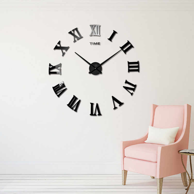 detail feedback questions about diy wall sticker clock 3d big mirror