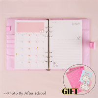 Colorful Leather Macarons Color Notebook Change Cover A56 Spiral Binder Planner Replacement Cover 6 Hole LooseLeaf