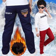 Зимние детские штаны с надписью для мальчиков, одежда г., повседневные плотные узкие брюки с эластичной резинкой на талии для мальчиков, детская одежда, P418