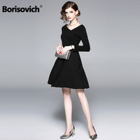 Borisovich Female A line Black Cotton Dress New Brand 2018 Autumn Fashion Hepburn Style V neck Elegant Women Casual Dresses M883