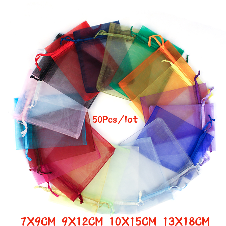 50Pcs 21 Color 7X9 9X12 10X15 13X18cm Organza Bags Gift Bag Drawable Jewelry Packing Pouches Can Custom LOGO недорого