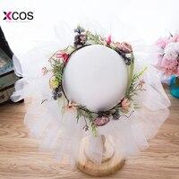 Summer Bohemian Beach Style Wedding Hats And Fascinators For Women Elegant Flowers Garland Tulle Bridal Hats Romantic