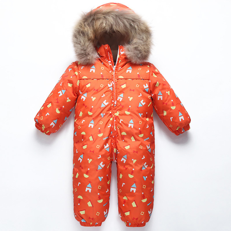 2018 Winter Newborn Romper Baby Snowsuit Baby Boy Snow Wear Jumpsuit Infant Girl Duck Down Overalls Children Clothes Fleece Coat