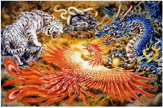 Full drill 5D DIY Diamond Paintingdragon phoenix tiger snake Animal Embroidery Cross Sti ...