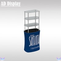 High Quality Trade Show Booth Tension Fabric Banner Square Counter With Acrylic Display Rack,Advertising Promotional Table