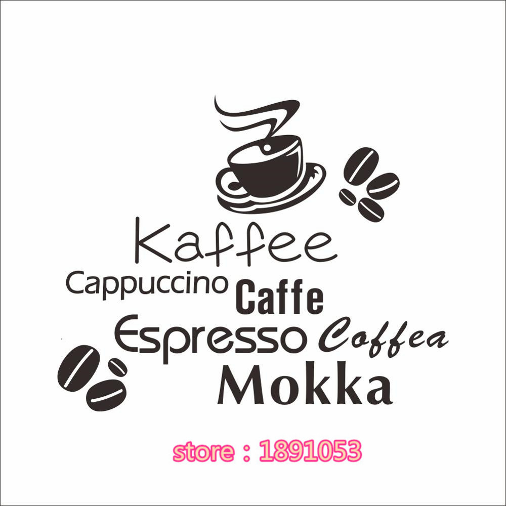 New kaffee cappuccino caffe text pattern wall stickers shop bedroom ...