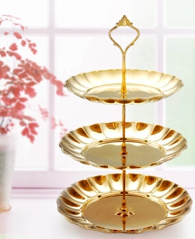 two three plate gold/silver Dessert plate decorative plate fruit plate nuts seeds cake pan cake decorating tools DGP006-in Stands from Home u0026 Garden on ...  sc 1 st  AliExpress.com & two three plate gold/silver Dessert plate decorative plate fruit ...